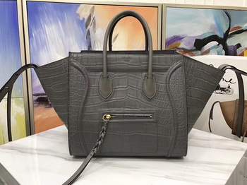 Celine Luggage Phantom Tote Bag Croco Leather CT3372 Grey