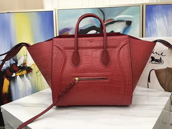 Celine Luggage Phantom Tote Bag Croco Leather CT3372 Red