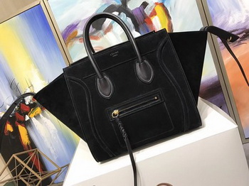 Celine Luggage Phantom Tote Bag Suede Leather CT3372 Black