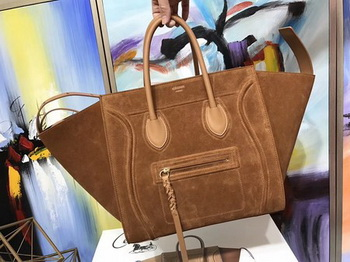 Celine Luggage Phantom Tote Bag Suede Leather CT3372 Brown