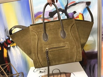 Celine Luggage Phantom Tote Bag Suede Leather CT3372 Green