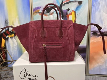 Celine Luggage Phantom Tote Bag Suede Leather CT3372 Red