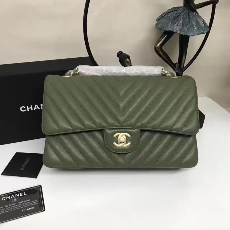 Chanel Flap Shoulder Bags Green Sheepskin Leather A1112 Glod