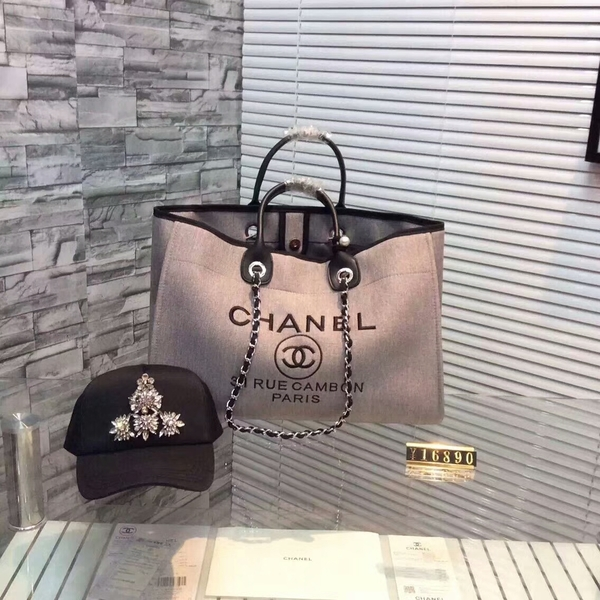 Chanel Large Canvas Tote Shopping Bag CNA1679 Grey
