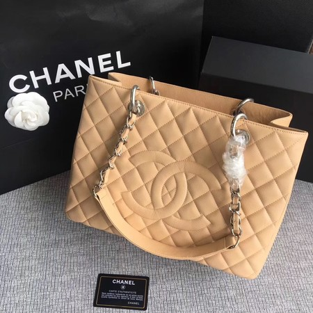 Chanel LE Boy Grand Shopping Tote Bag GST Apricot Cannage Pattern A50995 Silver