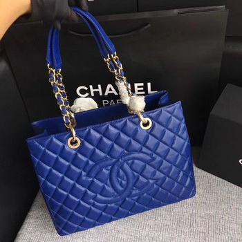 Chanel LE Boy Grand Shopping Tote Bag GST Blue Cannage Pattern A50995 Gold