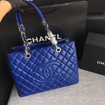 Chanel LE Boy Grand Shopping Tote Bag GST Blue Cannage Pattern A50995 Silver