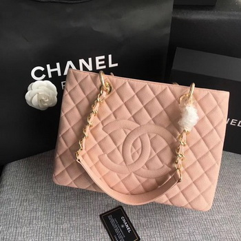 Chanel LE Boy Grand Shopping Tote Bag GST Pink Cannage Pattern A50995 Gold