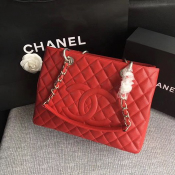 Chanel LE Boy Grand Shopping Tote Bag GST Red Cannage Pattern A50995 Silver