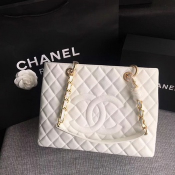 Chanel LE Boy Grand Shopping Tote Bag GST White Cannage Pattern A50995 Gold