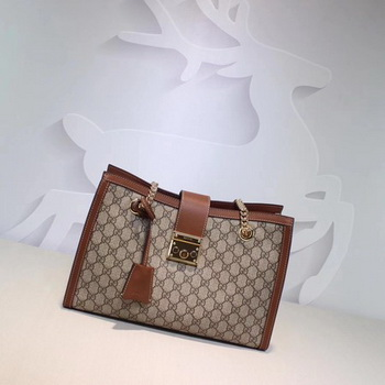 Gucci Padlock GG Supreme Canvas Shoulder Bag 479197 Apricot