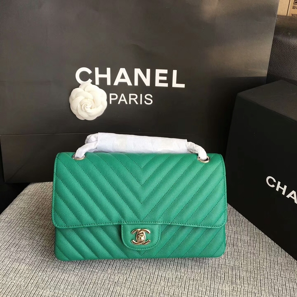 Chanel Flap Shoulder Bags Green Original Calfskin Leather CF1112 Silver