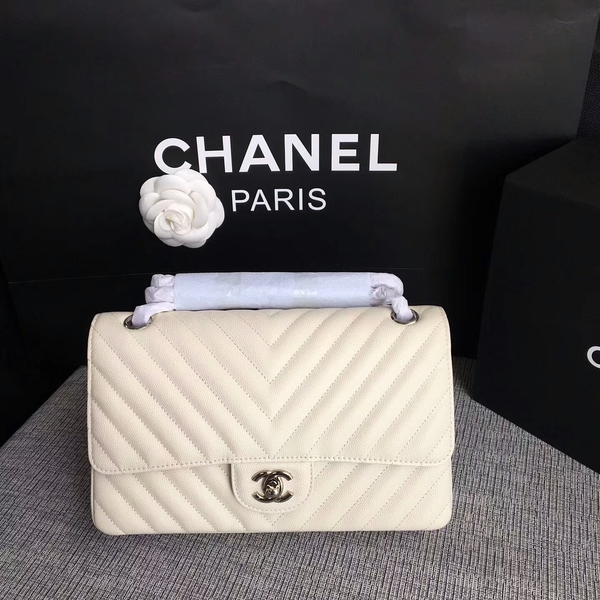 Chanel Flap Shoulder Bags White Original Calfskin Leather CF1112 White