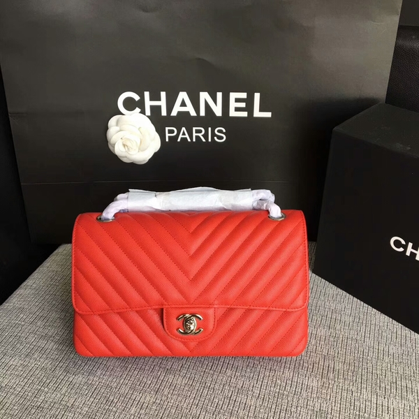 Chanel Flap Shoulder Bags Red Original Calfskin Leather CF1112 Silver