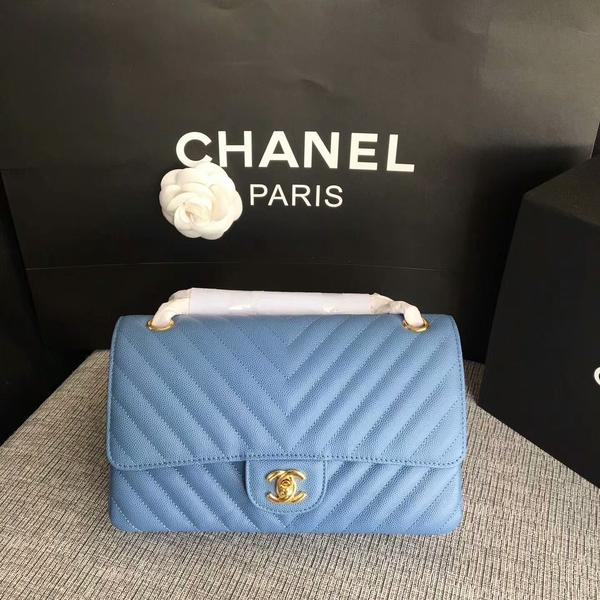 Chanel Flap Shoulder Bags Skyblue Original Calfskin Leather CF1112 Glod
