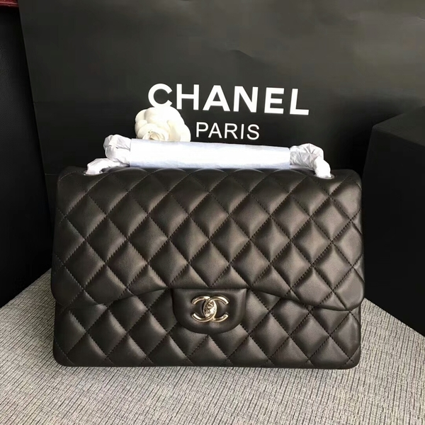 Chanel Flap Shoulder Bags Black Original Lambskin Leather CF1113 Silver