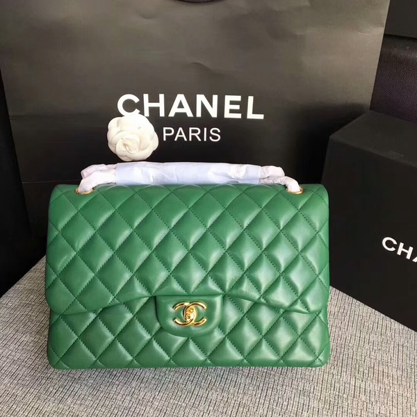 Chanel Flap Shoulder Bags Green Original Lambskin Leather CF1113 Glod
