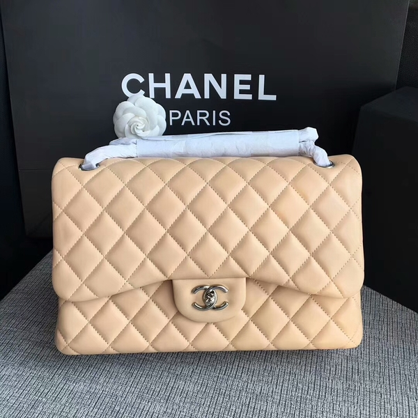 Chanel Flap Shoulder Bags Camel Original Lambskin Leather CF1113 Silver