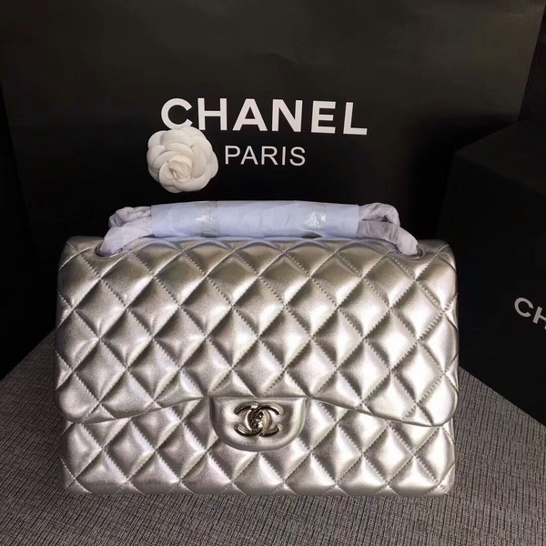 Chanel Flap Shoulder Bags Original Lambskin Leather CF1113 Silver