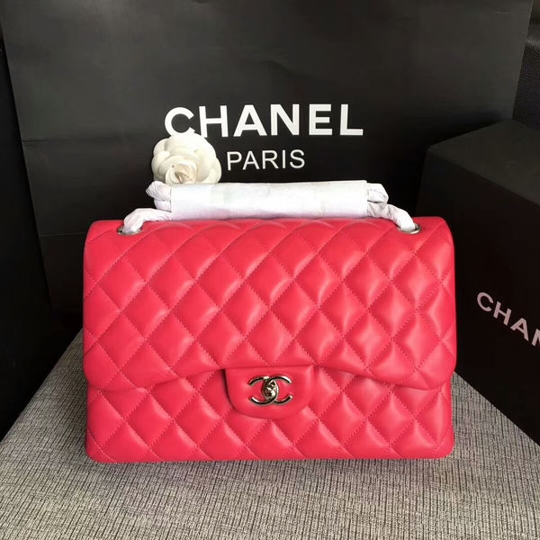 Chanel Flap Shoulder Bags Pink Original Lambskin Leather CF1113 Silver