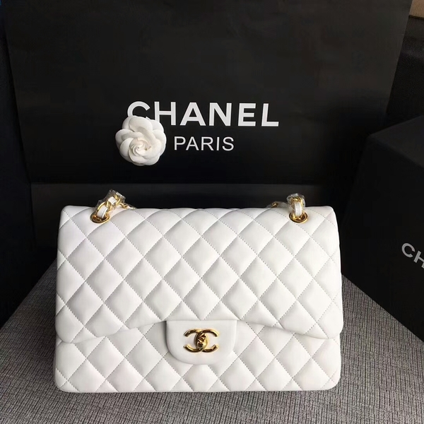Chanel Flap Shoulder Bags White Original Lambskin Leather CF1113 Glod