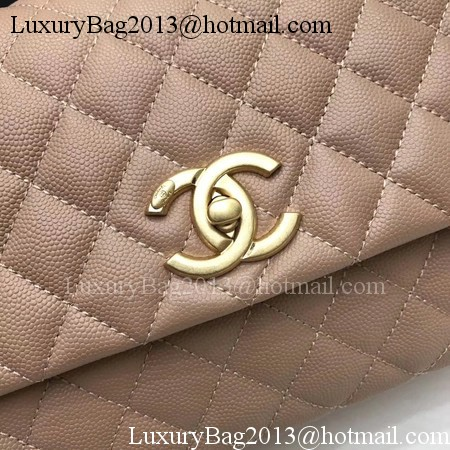 Chanel Classic Top Handle Bag Apricot Original Leather A92991 Gold
