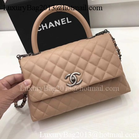 Chanel Classic Top Handle Bag Apricot Original Leather A92991 Silver