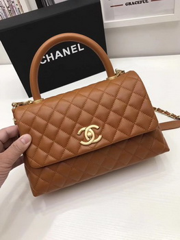 Chanel Classic Top Handle Bag Brown Original Leather A92991 Gold