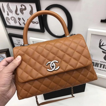 Chanel Classic Top Handle Bag Brown Original Leather A92991 Silver