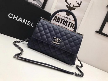 Chanel Classic Top Handle Bag Royal Original Leather A92991 Silver