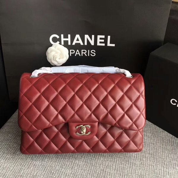 Chanel Flap Shoulder Bags Dark Red Original Lambskin Leather CF1113 Silver