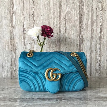 Gucci GG Marmont Chevron Velvet Shoulder Bag 443497 Blue