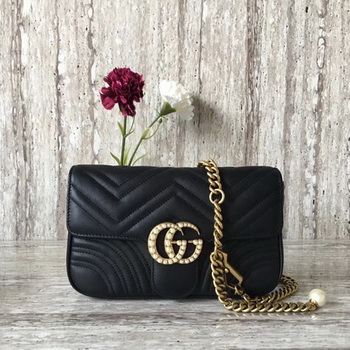 Gucci GG Marmont Matelasse Shoulder Bag 443497 Black