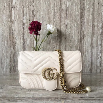 Gucci GG Marmont Matelasse Shoulder Bag 443497 OffWhite