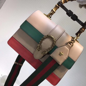 Gucci Now Bamboo Smooth Leather Top Handle Bag 448075 Apricot&Green&Red