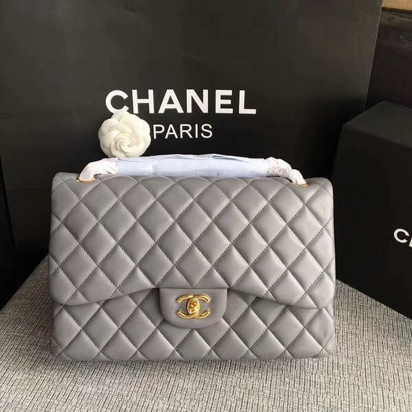 Chanel Flap Shoulder Bags Grey Original Lambskin Leather CF1113 Glod
