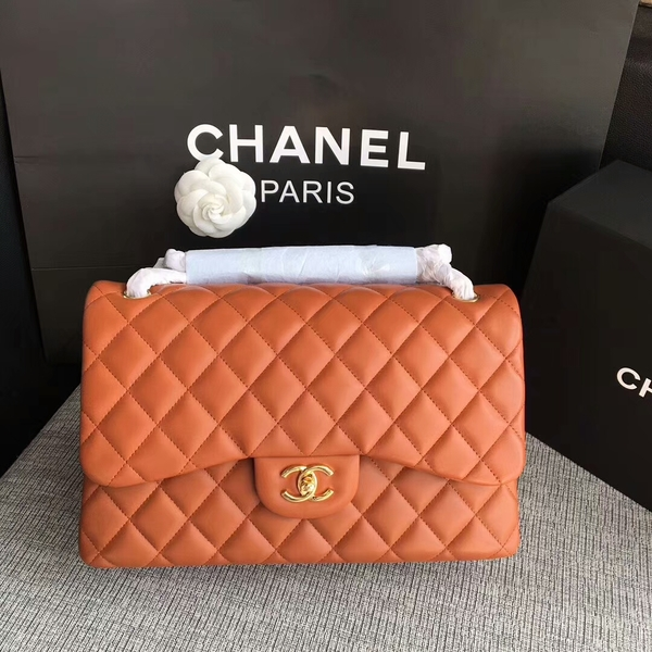 Chanel Flap Shoulder Bags Orange Original Lambskin Leather CF1113 Glod