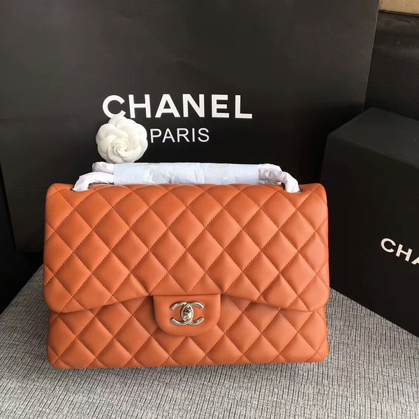 Chanel Flap Shoulder Bags Orange Original Lambskin Leather CF1113 Silver