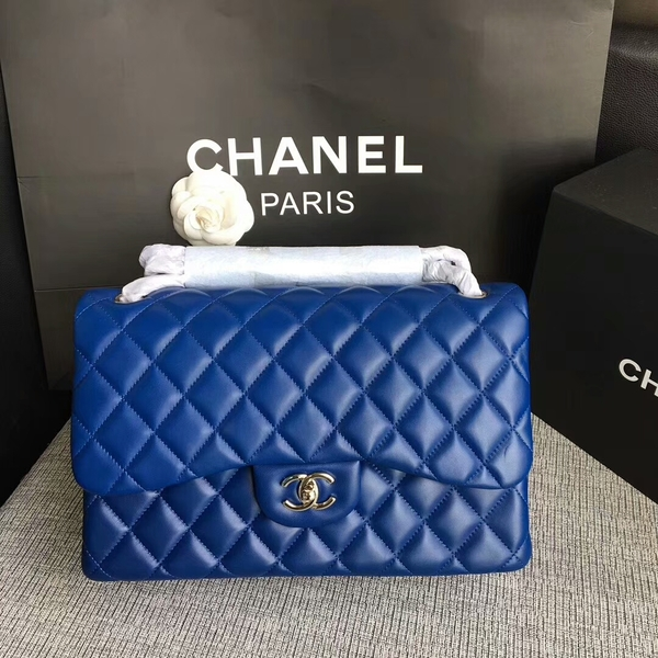 Chanel Flap Shoulder Bags Blue Original Lambskin Leather CF1113 Silver