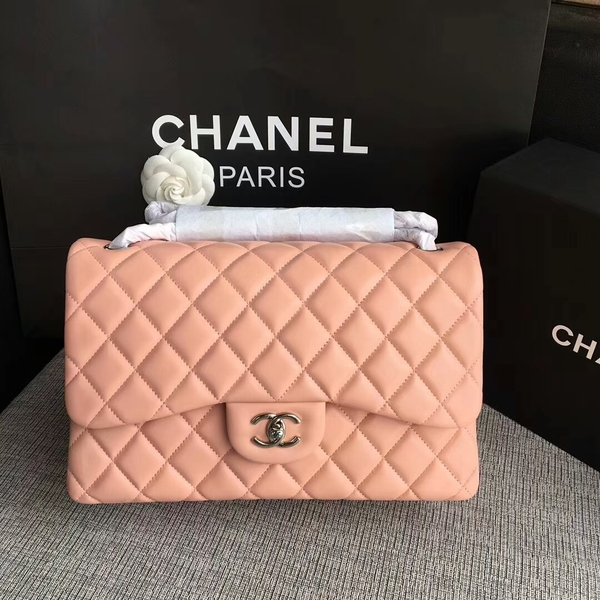 Chanel Flap Shoulder Bags Light Pink Original Lambskin Leather CF1113 Silver