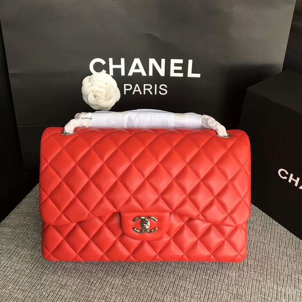 Chanel Flap Shoulder Bags Red Original Lambskin Leather CF1113 Silver