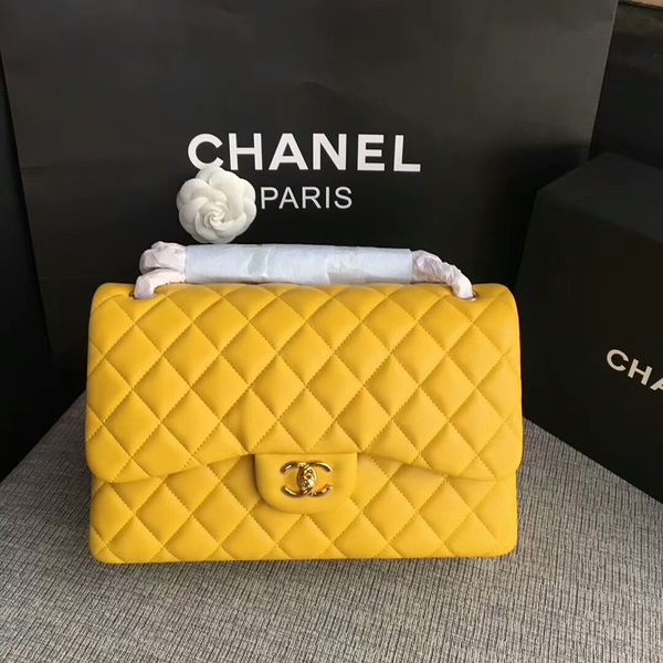 Chanel Flap Shoulder Bags Yellow Original Lambskin Leather CF1113 Glod