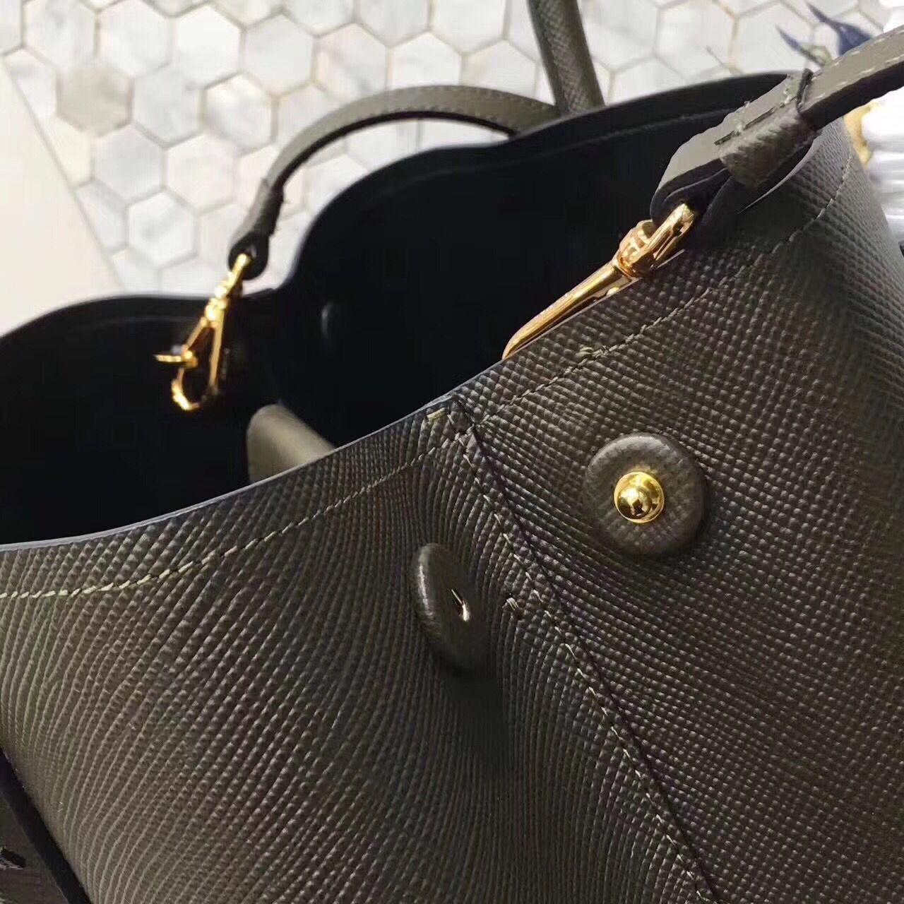 Prada Saffiano Cuir  Original Leather Tote Bag BN2758 Black