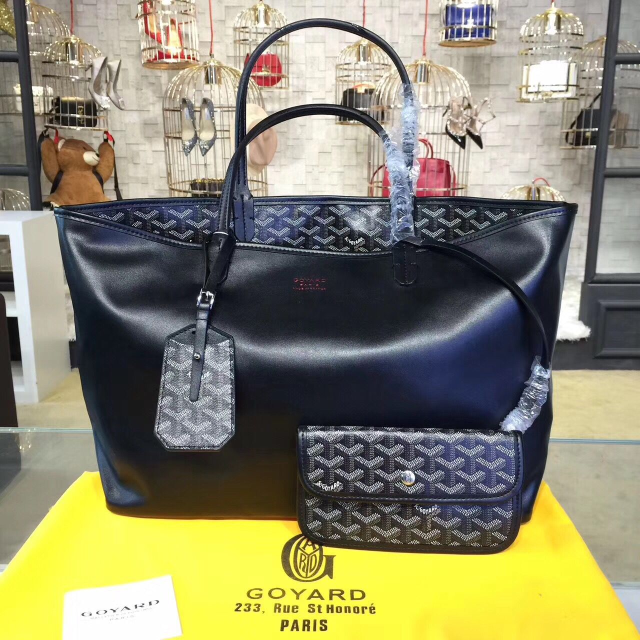 Goyard Y Doodling Calfskin Leather Tote Bag 7901 Black