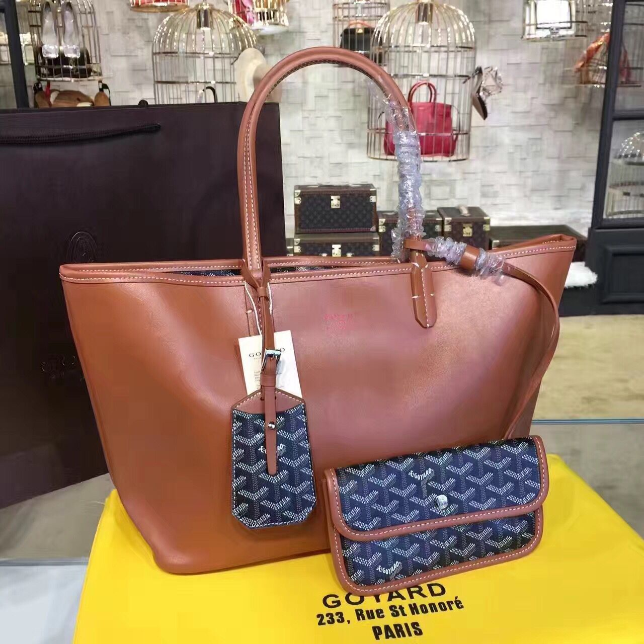 Goyard Y Doodling Calfskin Leather Tote Bag 7901 Brown