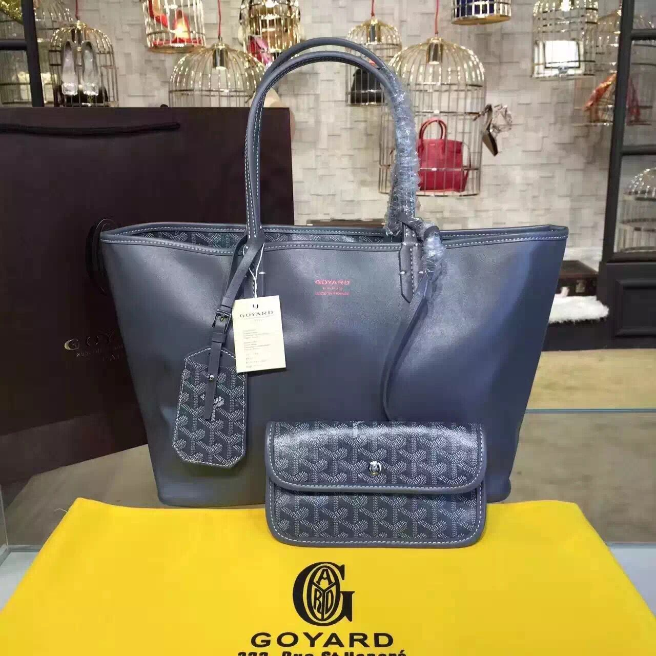 Goyard Y Doodling Calfskin Leather Tote Bag 7901 Dark Blue