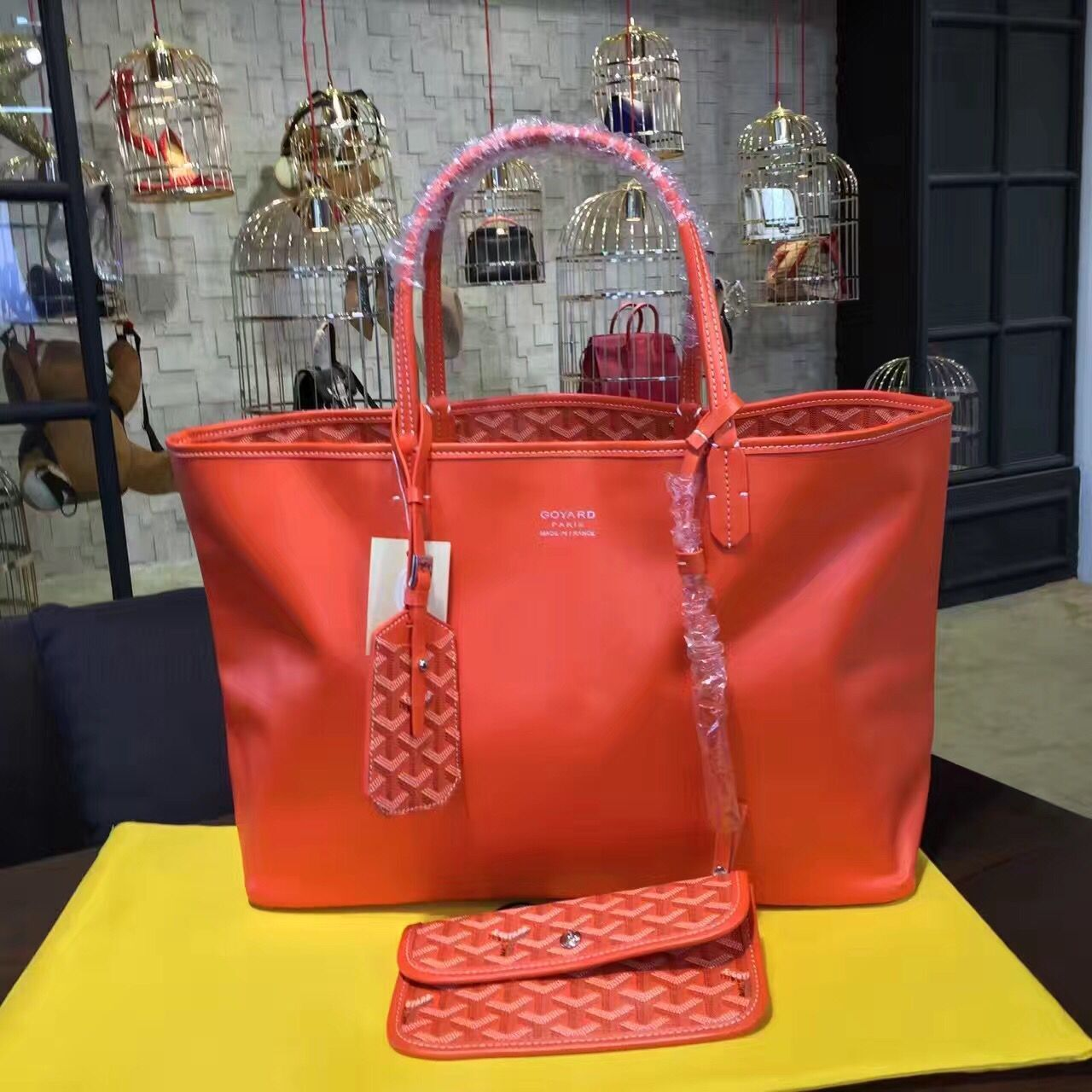 Goyard Y Doodling Calfskin Leather Tote Bag 7901 Red