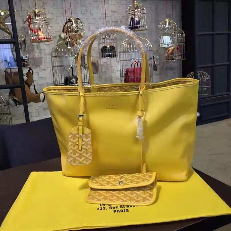 Goyard Y Doodling Calfskin Leather Tote Bag 7901 Yellow