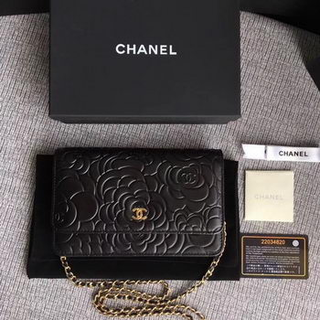 Chanel WOC Black Camellia Leather mini Flap Bag A33814 Gold