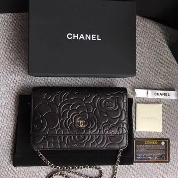 Chanel WOC Black Camellia Leather mini Flap Bag A33814 Silver